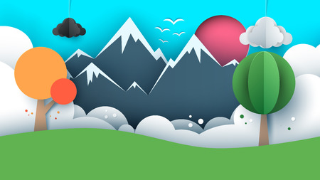 Paper travel illustration sun, cloud, hill, mountain bird Vector Çizim