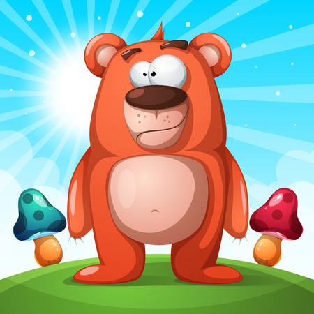 Cute, funny bear character. Illustration