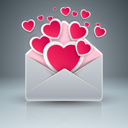 Envelop , heart, love gift icon Vector