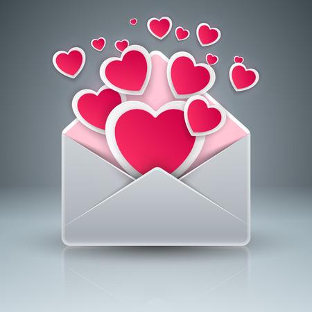 Envelop , heart, love gift icon Vector