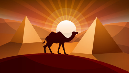 Landscape desert with pyramid, camel and sunrays in paper illustration. Ilustrace