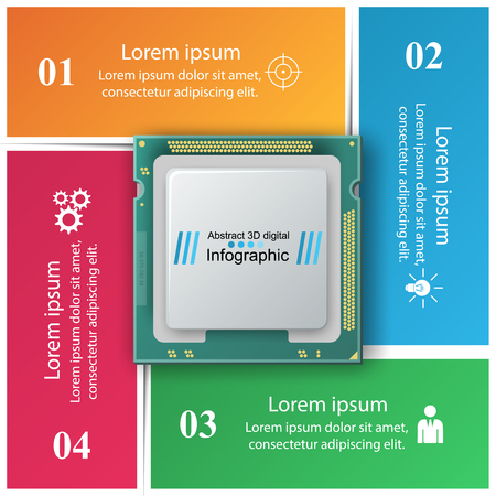 Computer chip Business infographic vector illustration