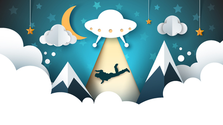 UFO kidnaps a person - cartoon paper illustration. Vector eps 10