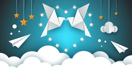 Two loving pigeons in the sky. Valentine s Day. Vector