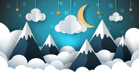 Mountain landscape paper illustration. Cloud, star, moon, sky. Çizim