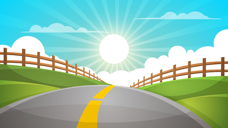 Cartoon hill landscape. Road, travel illustration, fence. Ilustração