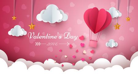Valentine s Day illustration. Air balloon, cloud, star Vector eps 10 Illustration
