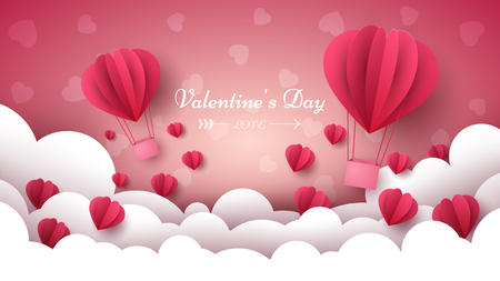 Valentine s Day illustration. Air balloon, heart, cloud Vector eps 10