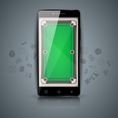 Digital gadget, smartphone - billiard illustration. 일러스트