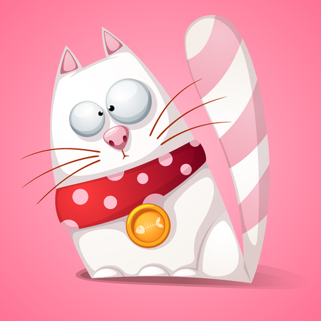 Funny, cute, crazy cartoon cat Vector eps 10  イラスト・ベクター素材
