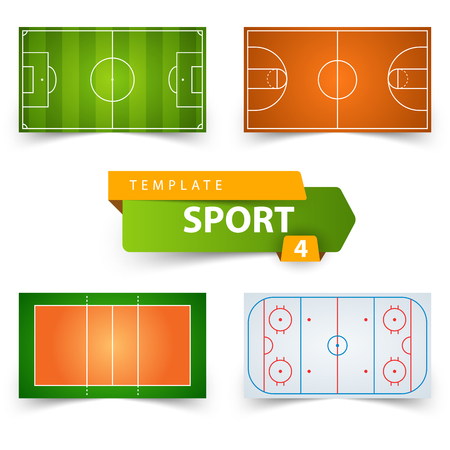 Soccer, football, basketball, volleyball, hockey - field template.