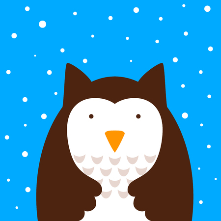 Cartoon cute owl, snow illustration Vector eps 10