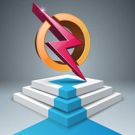 Lightning, stair, pedestal ladder icon Vector.