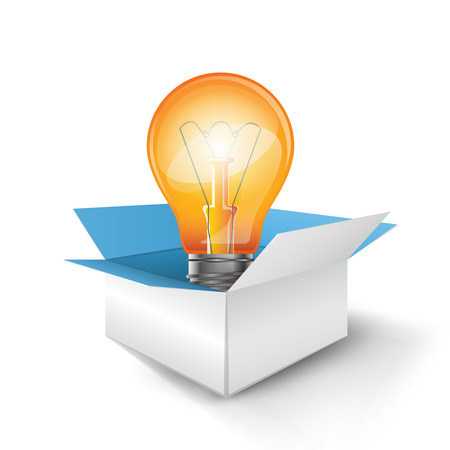 Bulb in a box icon. Infographic design template and marketing icons. Illustration