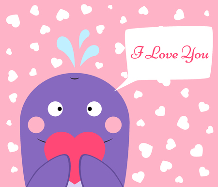 Cute, funny whale with heart saying I Love You Illustration
