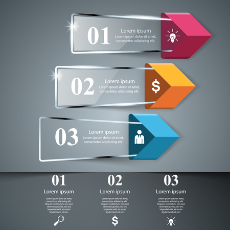 Abstract 3D glass illustration Infographic.