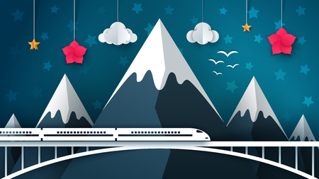 Cartoon mountain landscape. Travel, illustration Vector Vectores