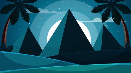Cartoon egypt landscape. Pyramid, sun, palm illustration Vector eps 10 矢量图像