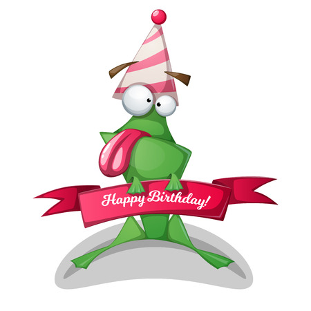 Funny, cute frog characters. Birthday illustration Vector eps 10