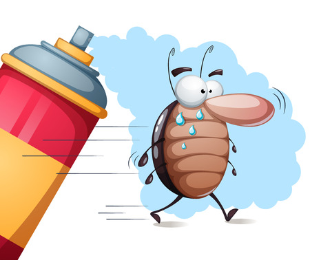 Funny, cute cartoon cockroach characters being sprayed on. Illustration