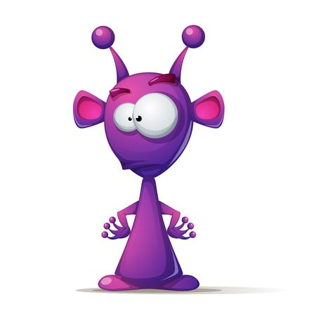 Lustiger, niedlicher Alien mit großem Auge und Ohr Vektorgrafik