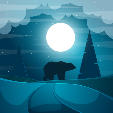 Bear illustration. Cartoon night landscape. Vector eps 10
