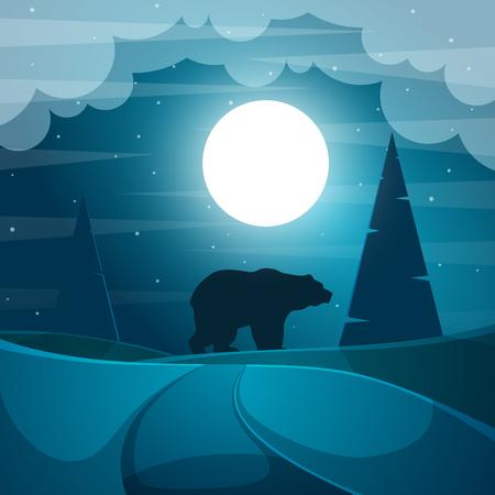 Bear illustration. Cartoon night landscape. Vector eps 10