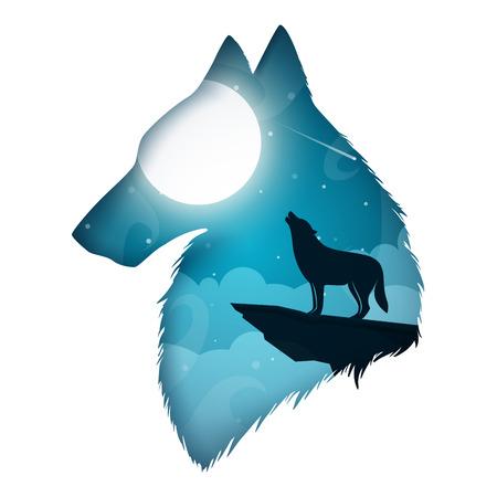 Wolf illustration. Cartoon paper landscape. Vector eps 10 Stock Illustratie