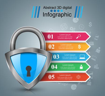 Security lock icon. Business infographic Vector design Vetores