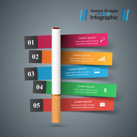 Harmful cigarette  business infographics Vector illustration. Vettoriali