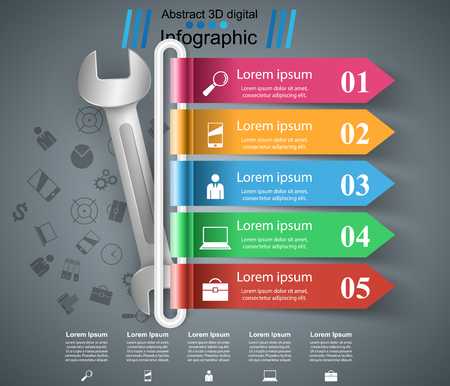 Wrench, screw, repair icon. Business infographic with steps.