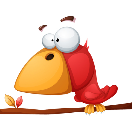 Cute funny crazy bird Vector illustration isolated on white background. Vectores