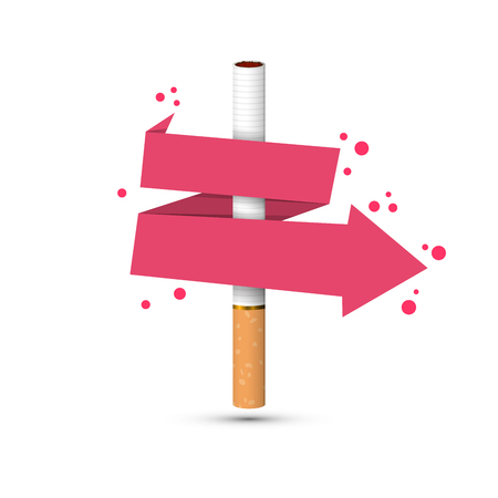 cigarette with wrapped arrow Vector illustration. Çizim