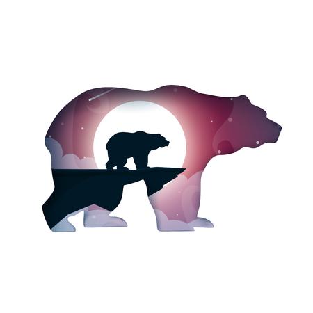 Bear illustration. Cartoon paper landscape. Vector illustration. Иллюстрация