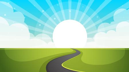 Road illustration. Cartoon paper landscape. Vector eps 10