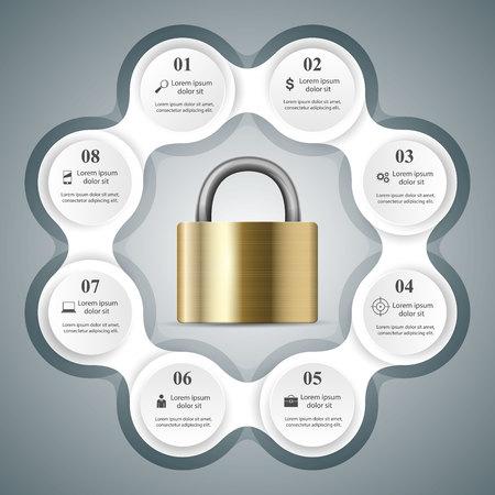 Key, lock icon. Business infographic. Vector illustration.