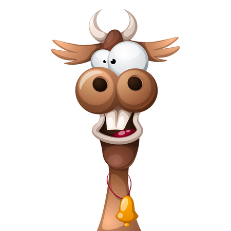 Funny, cute, crazy cartoon characters cow. Illustration
