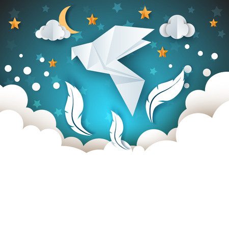 Origami dove illustration with cloud, feathers and moon. Cartoon paper sky. Ilustracja