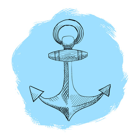 Painted anchor in the style of mascara and pen.