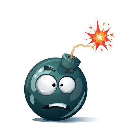 Cartoon bomb, fuse, wick, spark icon vector.