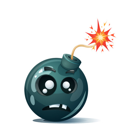 Cartoon bomb fuse wick spark icon. Scared smiley Vector illustration. Illustration
