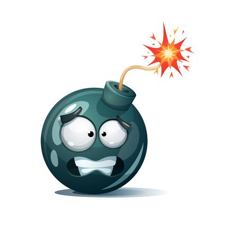 Cartoon bomb, fuse, wick, spark vector icon.