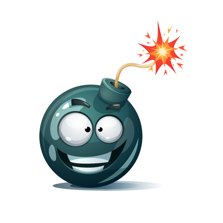 Cartoon bomb, fuse, wick, spark icon. Scared smiley. Funny smiley Illustration