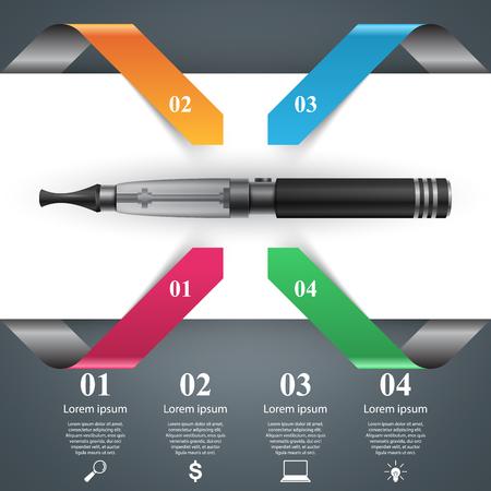 Harmful cigarette, viper, smoke, business infographics.