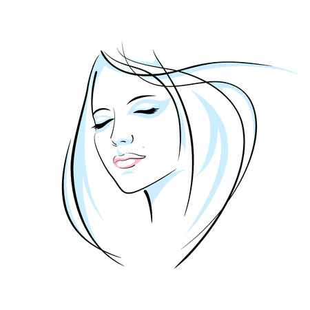 Girl head illustration. Vectores