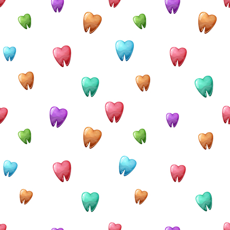 Color cartoon tooth seamless pattern