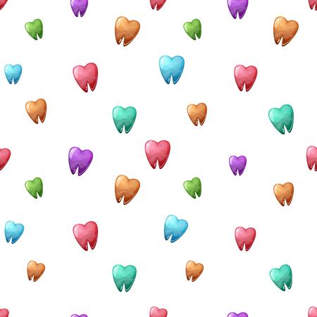 Kleur cartoon tand naadloze patroon
