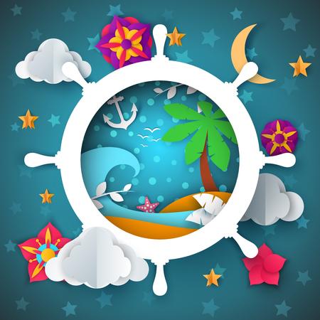 Island illustration. Cartoon paper landscape. Palm, sea, water, anchor moon flower Vector eps 10 Çizim