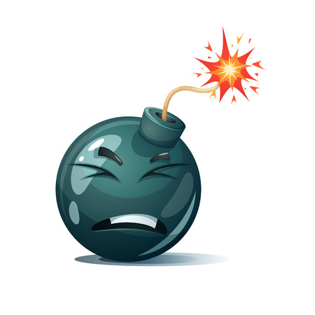 Cartoon bomb, fuse, wick, spark icon. Disgust smiley. Illustration