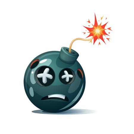 Cartoon bomb, fuse, wick, spark icon. Dead smiley. Illustration